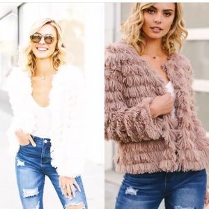 Jackets & Blazers - ONLY 1 LEFT! Large- Feathery  jacket in taupe.